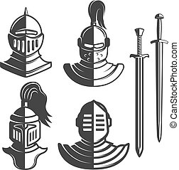 Knight emblems template with swords isolated on white background