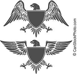 Eagle with shield isolated on white background. Design element f