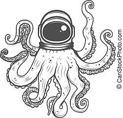 astronaut helmet with octopus tentacles. Design element for...