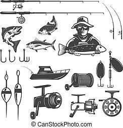 Set of fishing design elements isolated on white background. Images for logo, label, emblem. Vector illustration.