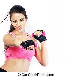 Fit woman working out isolated on white