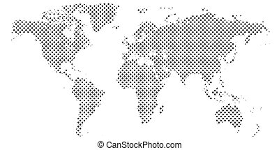 Pixel map of world. Dotted world map Halftone horizontal banner