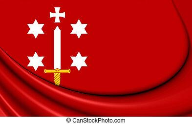 Flag of Haarlem (North Holland), Netherlands. - 3D Flag of...