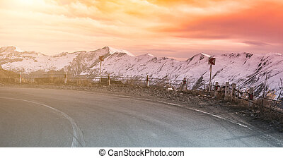 winding road in Georgia - Sunset views of winding road in...