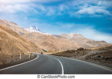 military road in Georgia - Landscape with beautiful road in...