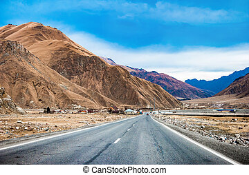 road in Georgia - Landscape with panorama of military road...