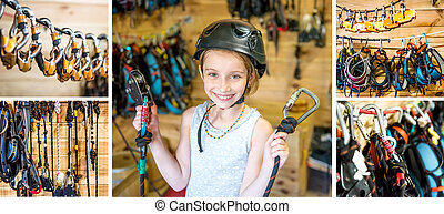 equiped girl ready for high ropes course, collage - Little...