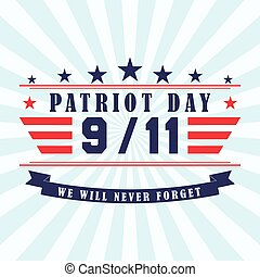 Vector Patriot Day background with stars, ribbon and lettering. Template for Patriot Day. September 11.