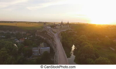 Aerial shot Kamenets Castle at sunset and one of the largest...