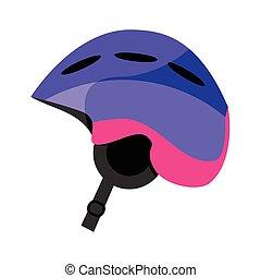 Skiing, snowboarding plastic helmet, winter sport gear, flat vector illustration