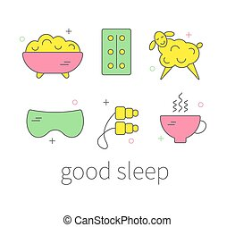 Treatment of insomnia - Set of icons treatment of insomnia,...