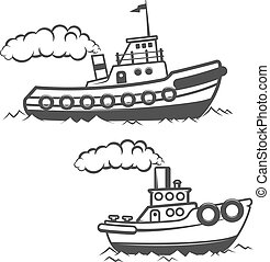 Set of tugboat illustration isolated on white background....