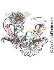 Human skull with horns and sharp teeth decorated with bright watercolor splashes and flowers