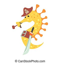 Funny cartoon seahorse pirate in a hat smoking pipe and...