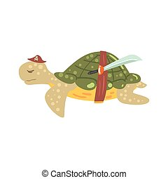 Funny cartoon turtle pirate in a hat with a sword colorful...