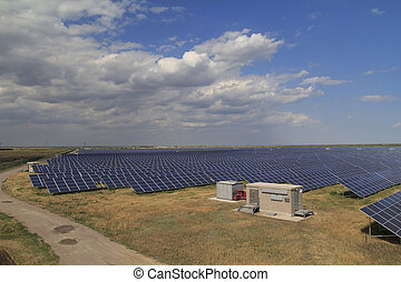 Solar Power Station Landscape - Solar power station with a...