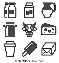 Milk Icons Set on White Background. Vector