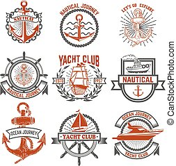 Set of yacht club labels. Nautical. Design elements for...