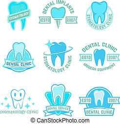 Set of stomatology labels color isolated on white background. De