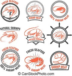 Set of the shrimps meat labels isolated on white background....