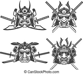Set of the samurai mask with crossed swords isolated on white ba
