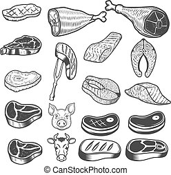Set of meat icons. Pig and cow heads. Design elements for logo,