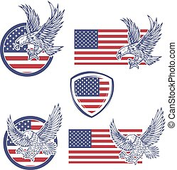 Set of the emblems with eagles on usa flag background. Design el