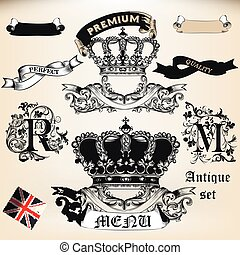Vector set of crowns, banners and badgest in vintage antique style