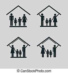 Protection of family in house, set of icons1