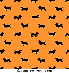 Seamless pattern with black dogs silhouettes - Dachshund on oran