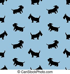 Seamless pattern with black dogs silhouettes, scotchterrier on b