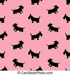 Seamless pattern with black dogs silhouettes, scotchterrier on p