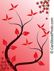 A stylized red floral vector background design