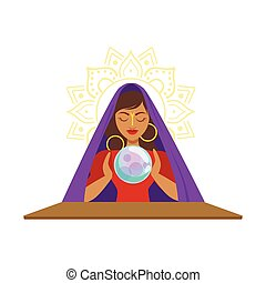 Fortune teller watching crystal ball, occult ritual vector...
