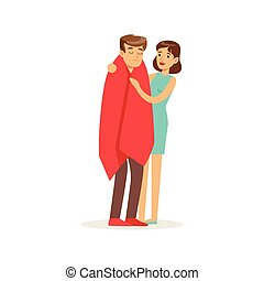 Woman helping a man wrapped in red a blanket, first aid...