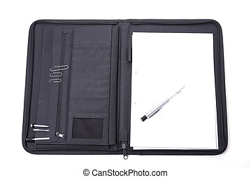 Open notepad carrying case with the pen on wthite background