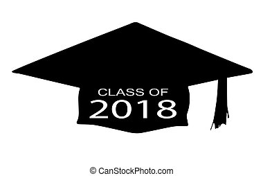 Class of 2018 - A cap with the legend Class of 2018 over a...
