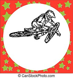 man riding mountain bike jumping - vector illustration sketch hand drawn with black lines, isolated on white background