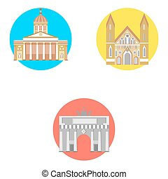 germany icons set - set in the style of a flat design on the...