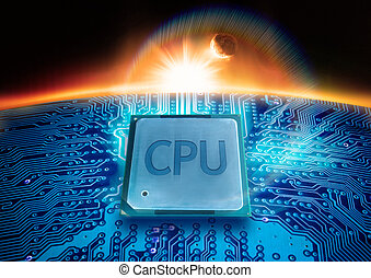 Modern Technology A CPU on a circuit board with the sun on...