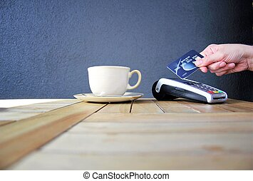 contactless payment card pdq background copy space with hand...