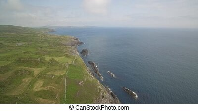 Aerial, Irish Cliffs, County Cork, Ireland - Native...