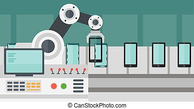 Automated robotic production line of smartphones. - Robot...