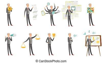 Caucasian businessman vector illustrations set. - Senior...