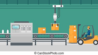 Robotic packaging production line. - Robotic arm raises...