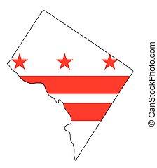 Washington DC Outline Map and Flag