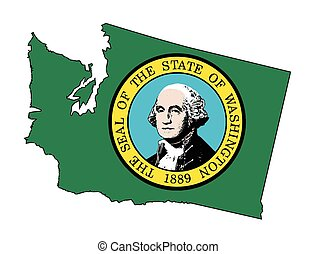 Washington State Outline Map And Flag - Outline of the state...
