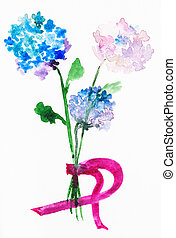 bouquet from fresh hortensia flowers - training drawing in...