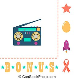 boombox computer symbol - boombox Simple vector button. Flat...