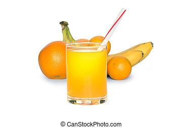 Fruit Juice - Glass of juice on white background with...
